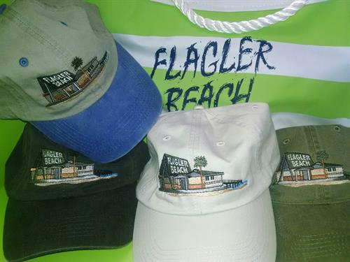Flagler Beach Pier embroidered baseball cap available exclusively at Flagler Beach Gift Shop in Florida. 386-439-0053