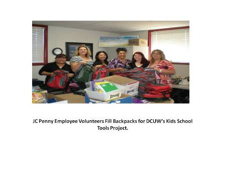 "J.C. Paenny Volunteers fill backpacks for ""kids School Tools"" Program"