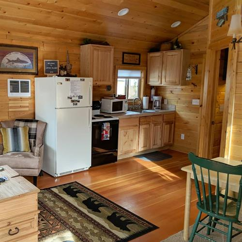 Angler Cabin fully equipped kitchen