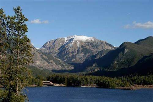 Shadow Mountain Lake, Rainbow Bridge and Mt. Baldy (Craig) on Grand Lake