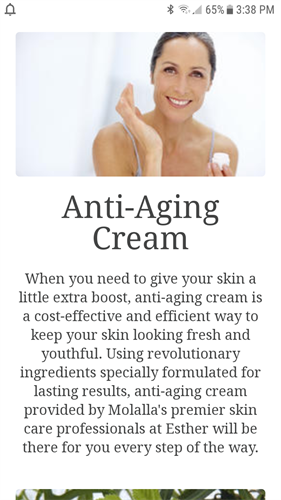 I have been making and using my own anti aging cream. Give me a call, we can schedule a facial. I can help you  bring back the youthful skin.