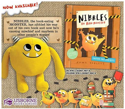 One of our newest Titles!  Nibbles is a book monster that eats books.  He escapes his own books and eats his way through your favorite storybooks.  Can you help catch him?