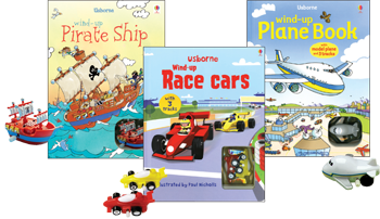 These are some of our busy books.  Your child can race a pull back or wind up car, boat, plane, helicopter, bug, or pirate ship around a grooved track in extra thick board book pages while you read the story.  These are great fun for your toddler or preschooler.