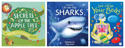 A couple examples of my top nonfitction titles.  We make learning about new things fun and easy with our fun and interactive nonfiction titles.  Lift flaps, shine light from behind the page to see hidden images, fold out huge posters for an idea of scale, and many more interactive ways to learn with our books.