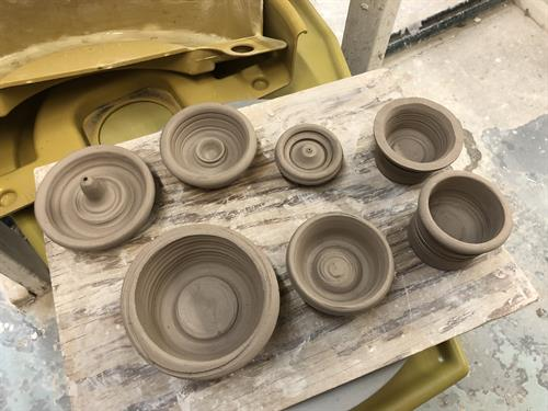 Ceramic bowls and incense burner in production at Lillstreet Art Center