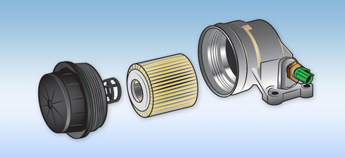 Illustration of a car fuel filter for James Halderman automotive books