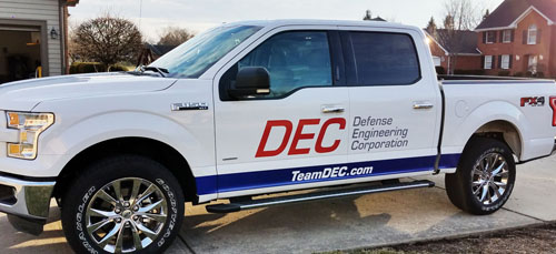Vehicle signage for Defense Engineering Corporation in Beavercreek Ohio