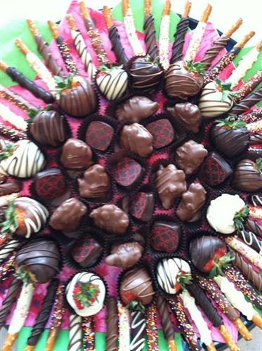 Party Tray which includes chocolate covered pretzel rods, Strawberries and truffles