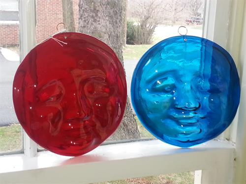 We have two different glass artisans that make amazing stained glass and other fun colored pieces