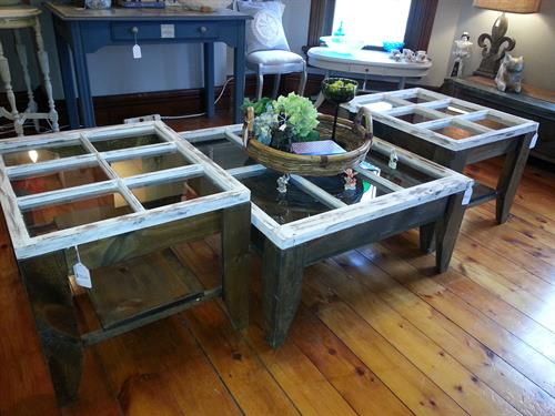 Coffee table and end tables made with old window tops
