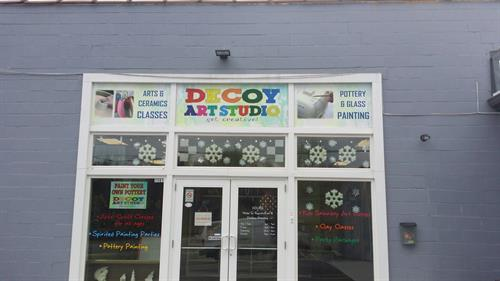 Stop by Decoy Art for art classes and pottery painting.