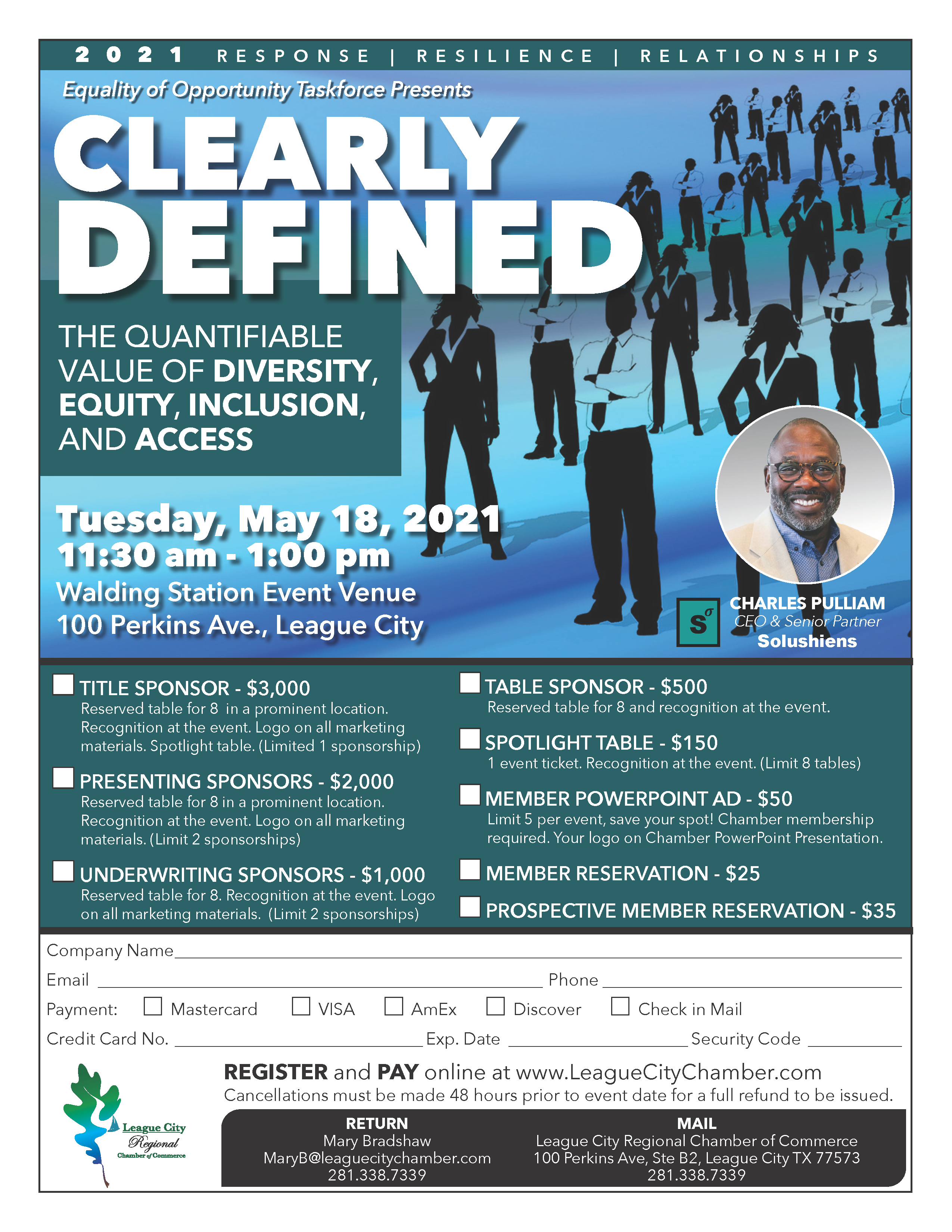 Image for PRESS RELEASE: League City Regional Chamber of Commerce to host Clearly Defined Luncheon
