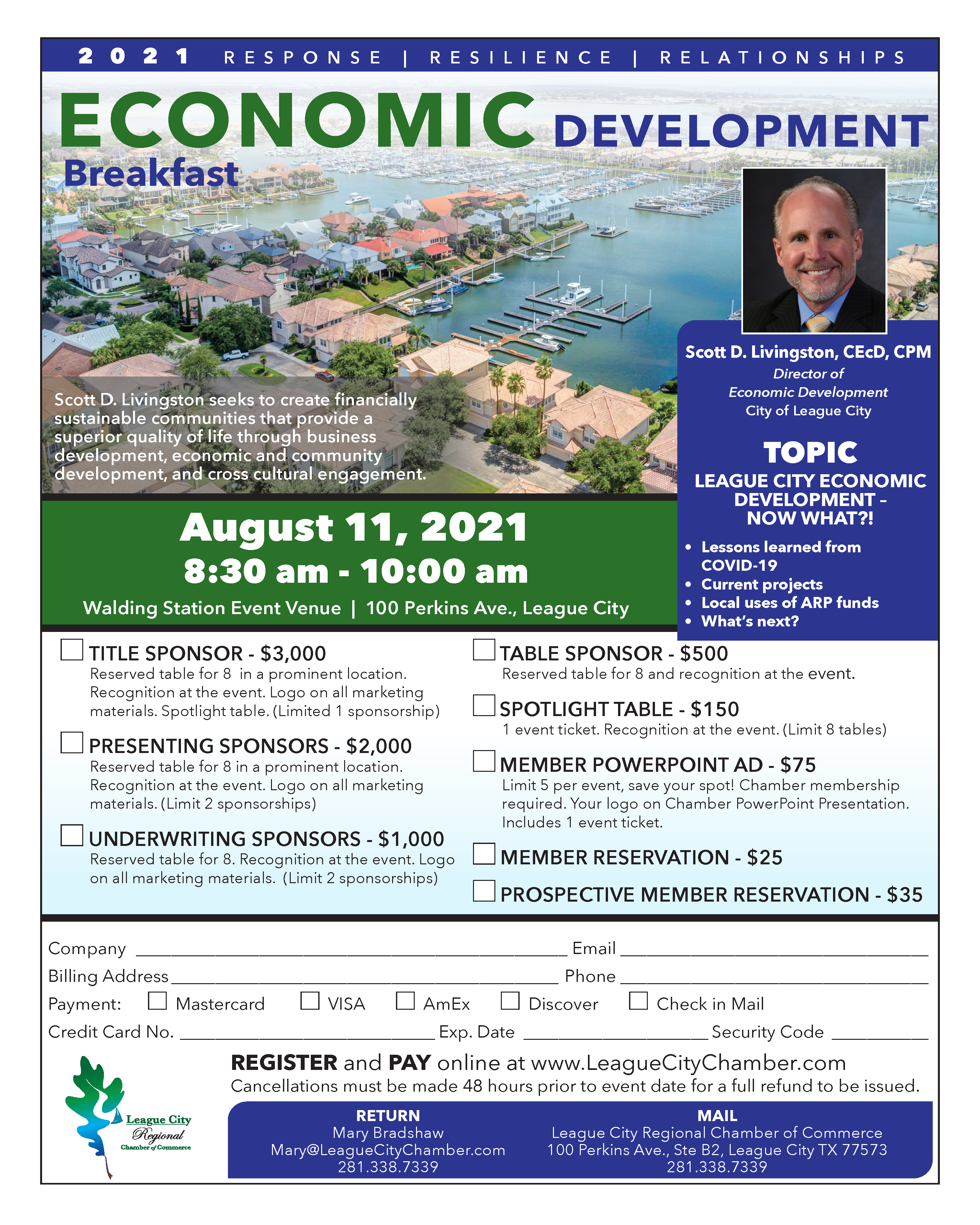 Image for Learn of the state and future of League City's economy at our Economic Development breakfast!