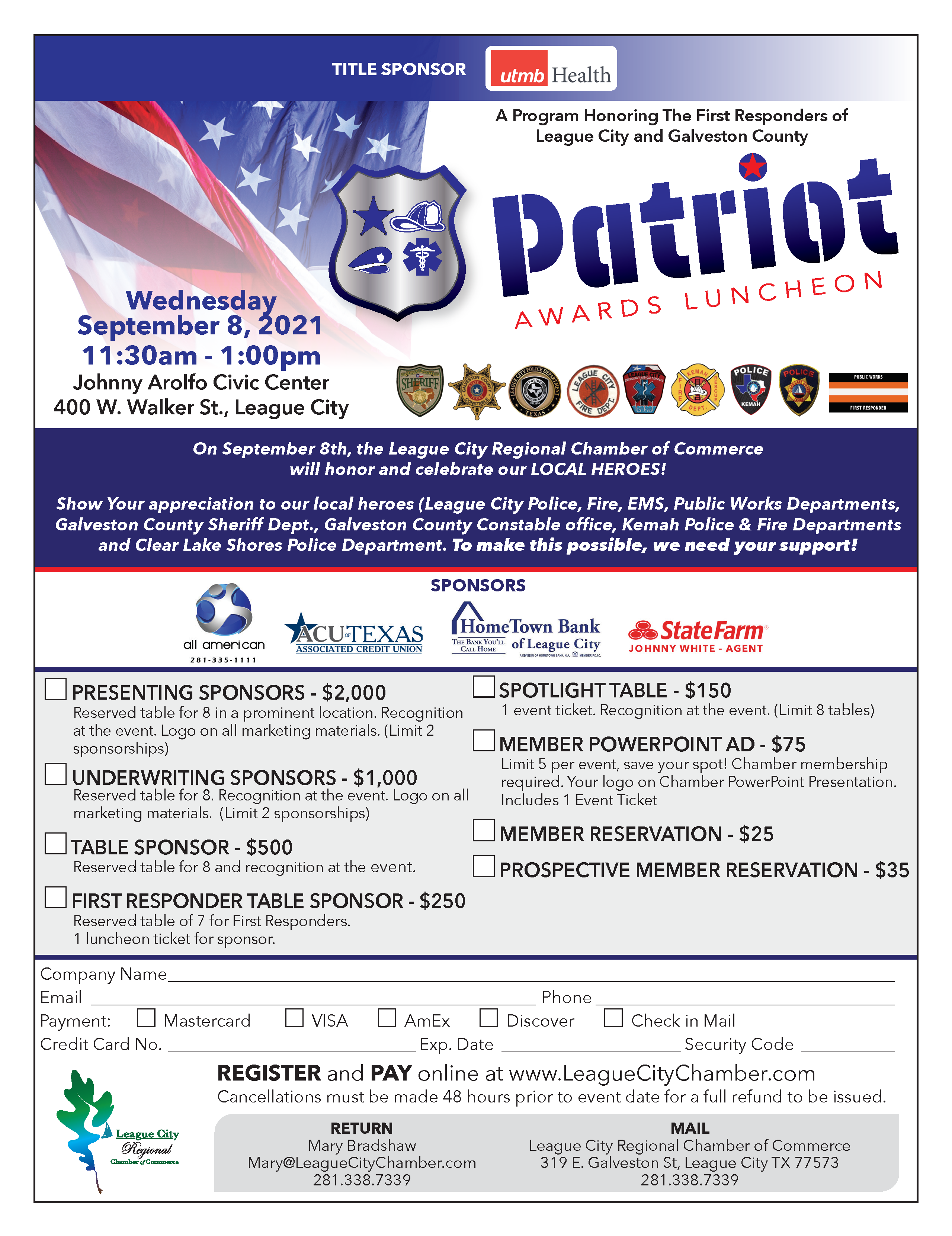 Image for Honor your first responders at the Patriot Awards Luncheon!