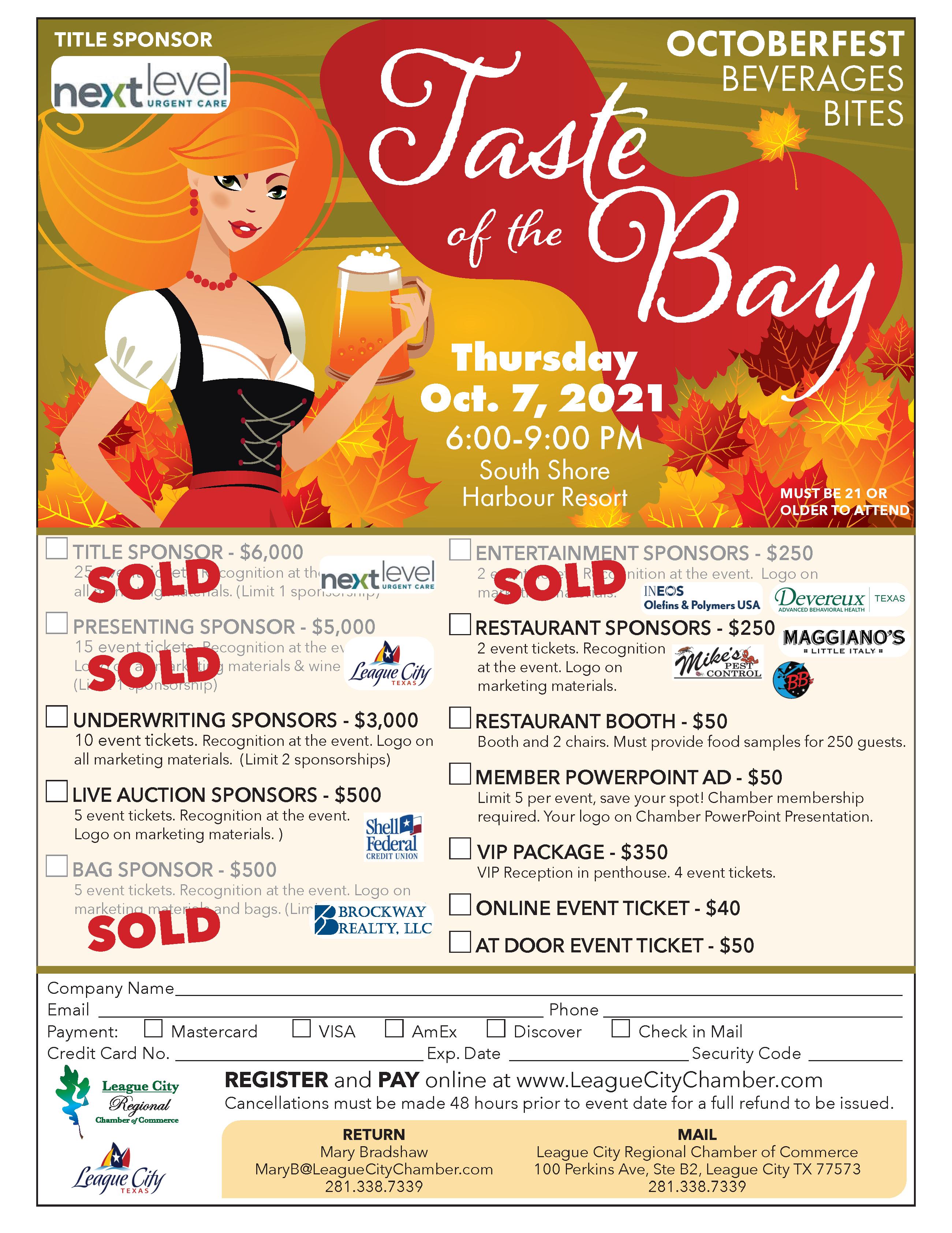 Image for League City Regional Chamber Prepares for Taste of the Bay Oktoberfest!
