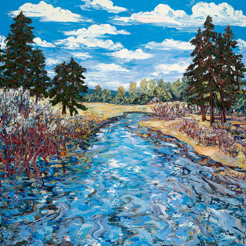 6 x 6 foot painting of the Truckee River.