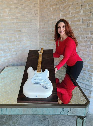 Jimmie Vaughan Fender Stratocaster cake for Jimmie's 70th birthday