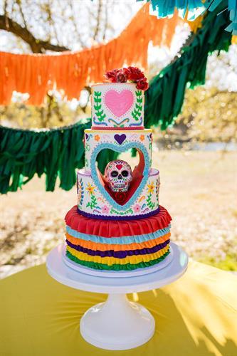 Sugar Skull Mexican fiesta wedding cake