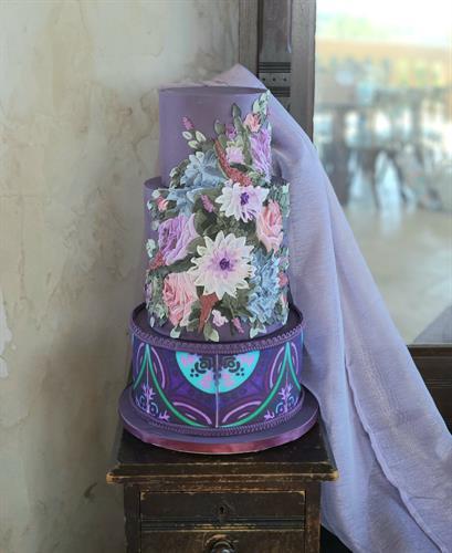 Palette painted buttercream wedding cake