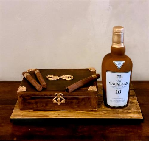 Cigars and scotch grooms cake