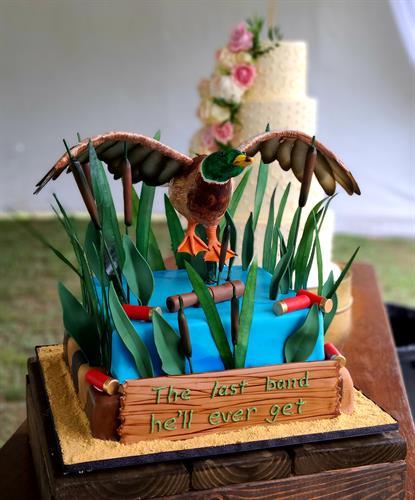 Mallard duck in flight grooms cake
