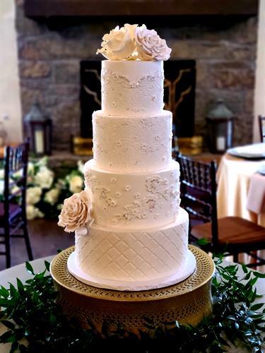 Classic white lace wedding cake