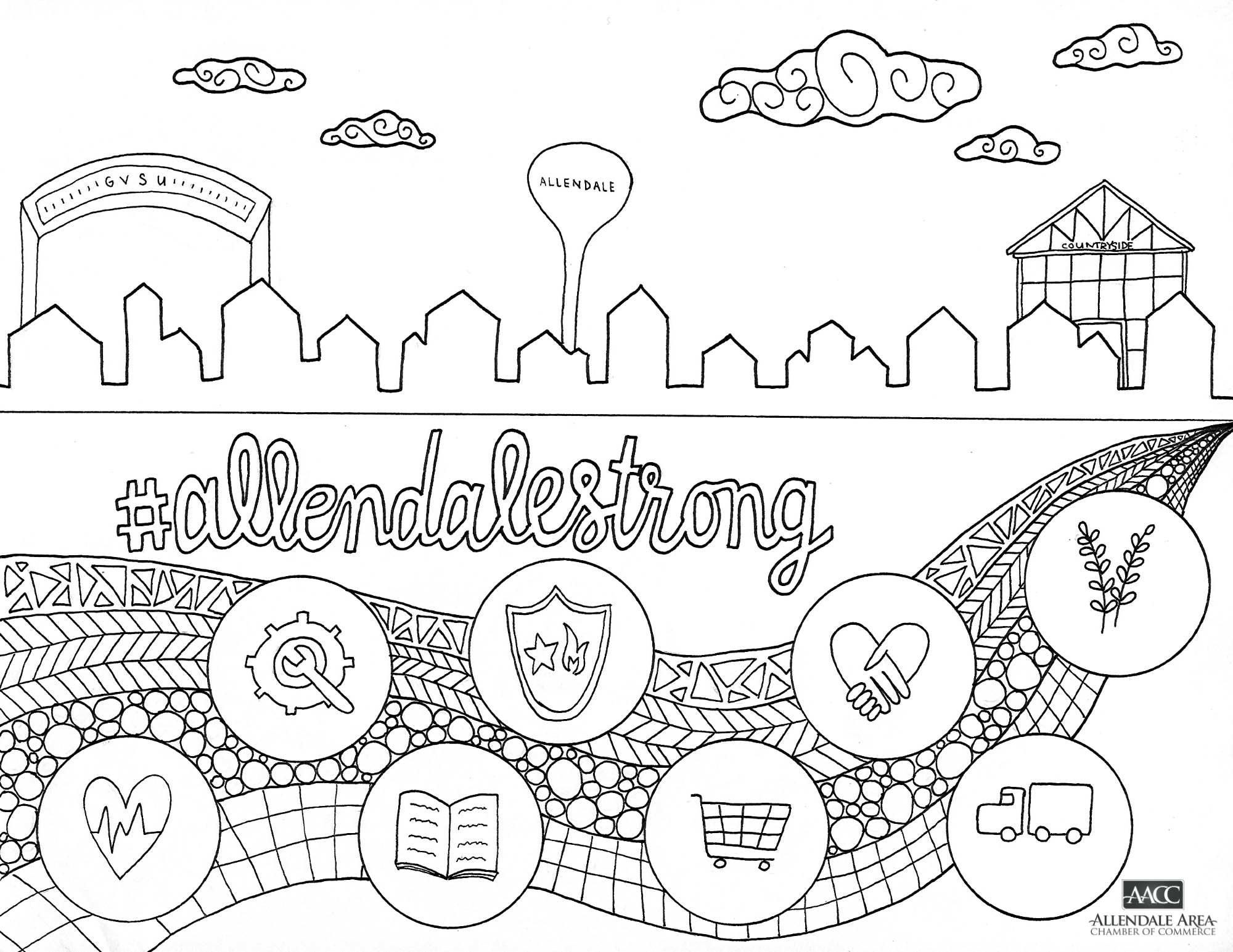 #AllendaleStrong Coloring Page