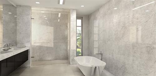 Bathroom renovation using quartz slabs