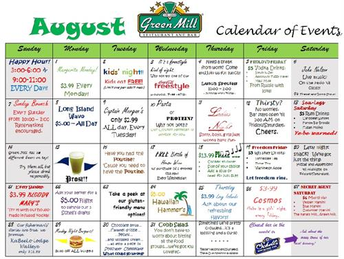 Greeen Mill August Events