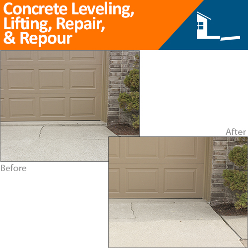 Before & After Concrete Leveling, Lifting, Repair, & Repour
