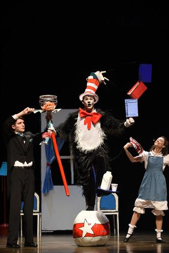 Children's Theatre performs for schools each Spring, hosting thousands of children/chaperones! Shown here: The Cat in the Hat