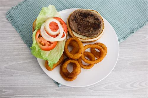 Classic Burger with Onion Rings!