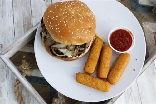 Pub Burger with Mozzarella Sticks!