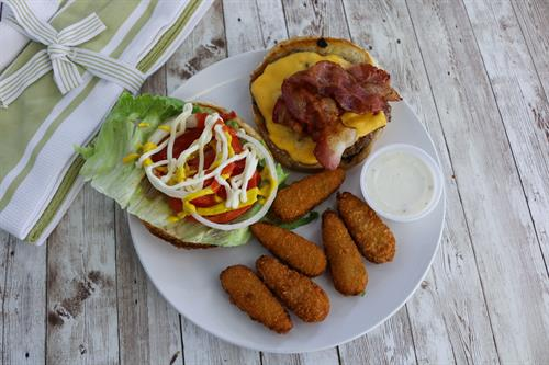 Cheeseburger with Bacon, and Jalapeno Poppers!