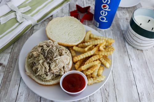 Shredded Chicken Sandwich (Knuckleheads Original Recipe) and Fries!