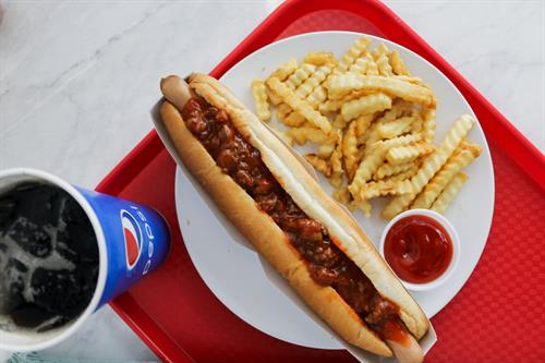Footlong Hot Dog with Fries and a Fountain Drink!