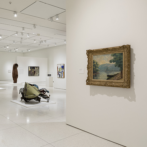 Installation view, Smart Museum of Art, showing work by Gustave Caillebotte, John Chamberlain, Nick Cave, and Cindy Sherman.