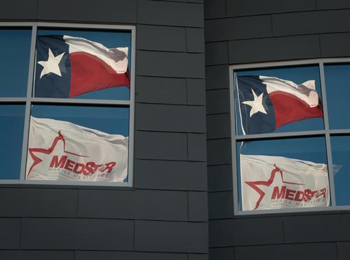 Texas and MedStar Flags at Headquarters