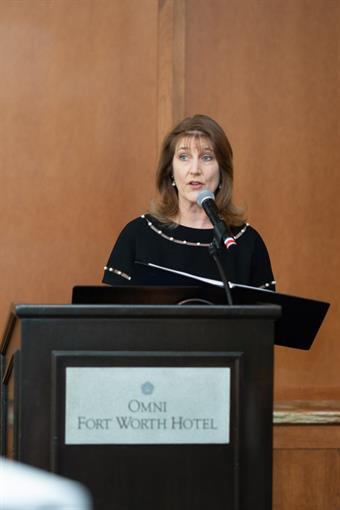 Allyson Baumeister speaking during her term as Chamber President
