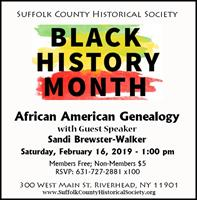 "BLACK HISTORY MONTH: ""African American Genealogy,"" with Sandi Brewster-Walker"