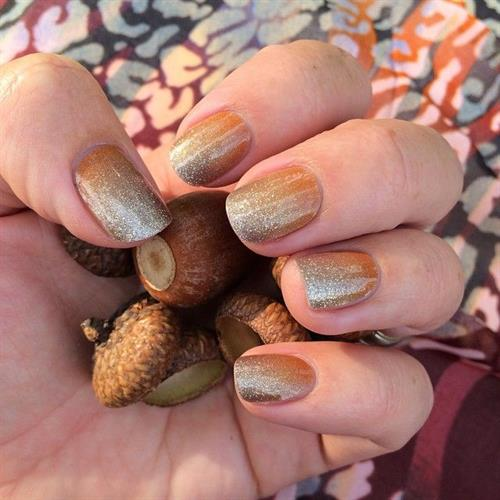 "An example of a beautiful fall Jamicure featuring our wrap, ""Pumpkin Spice"""