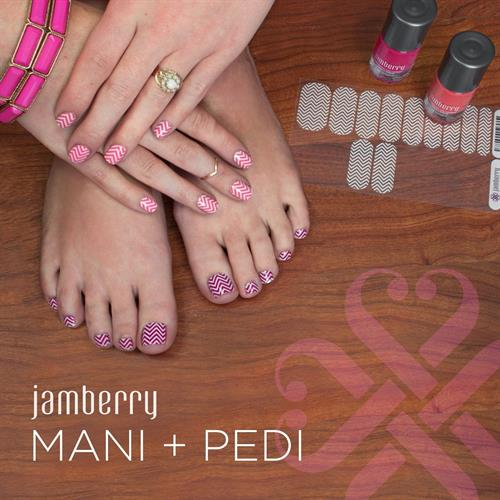 One sheet of Jamberry wraps is enough to give yourself a full mani and pedi TWICE with some left over! For $15 a sheet, the price can't be beat by the salon. And so much easier than DIY nail art!