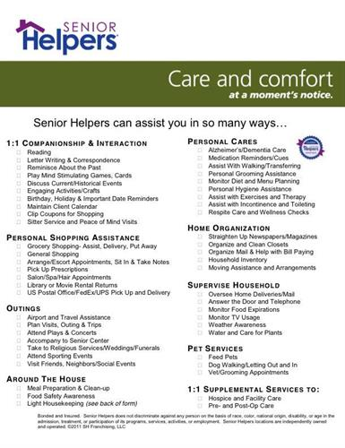 Senior Helpers Client Wish List Services In Home Care