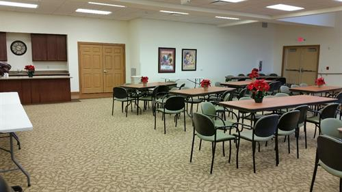 Brin Hall where we offer programs and entertainment to residents, families and guest.