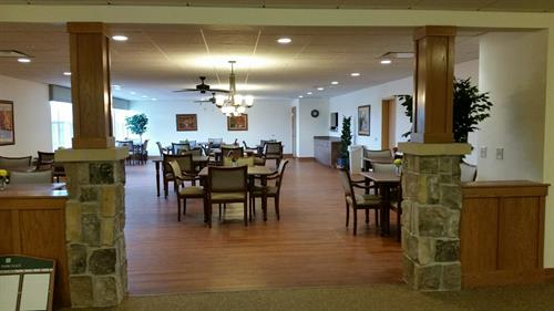 Autumn Lane memory care dining room where our residents receive three delicious meals a day.