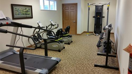 Yarrow room - exercise equipment available to our residents so they can continue their workout routines