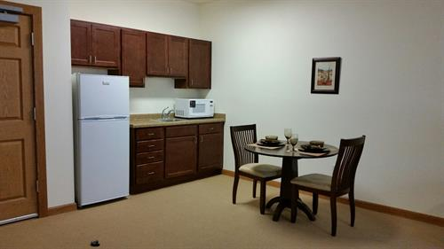 Kitchenettes in the assisted living apartments include a refrigerator and microwave