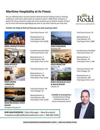 Rob MacPherson - NB Sales Manager, Rodd Hotels and Resorts