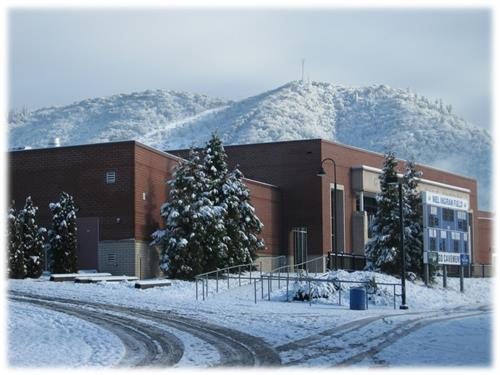 Grants Pass High School in snow