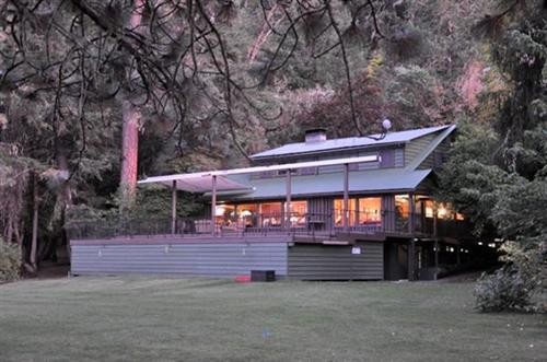 lodge at dusk